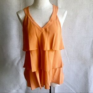 Anthro 100% Silk Tiered Ruffled Tank Top